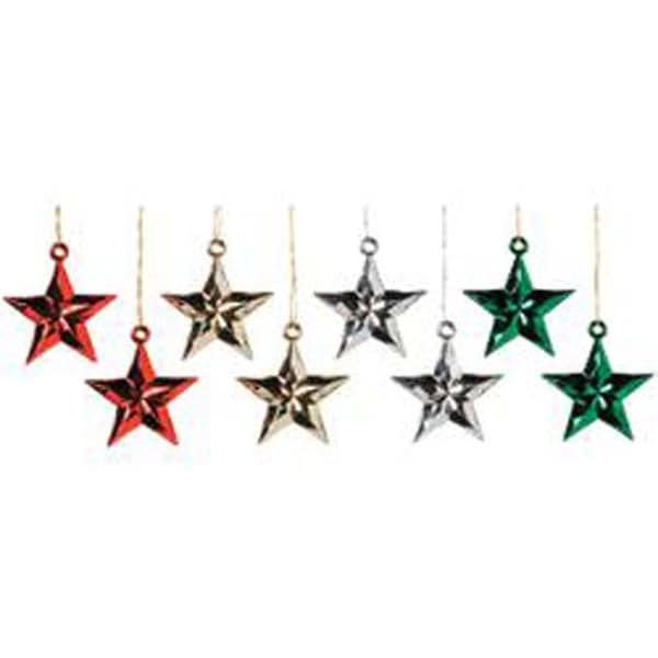 "1"" - Mini Metallic Star Ornaments 8/Pkg"