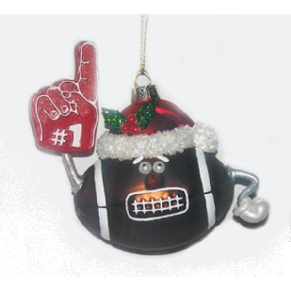 """4.5"""" Noble Gems Glass #1 Football with Santa Hat Christmas Ornament"""