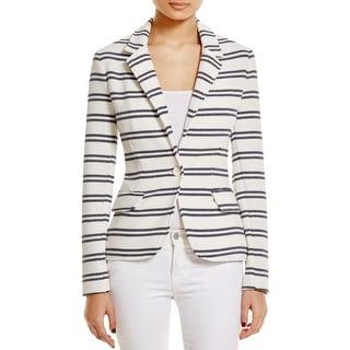 Three Dots Womens Blazer Textured Striped