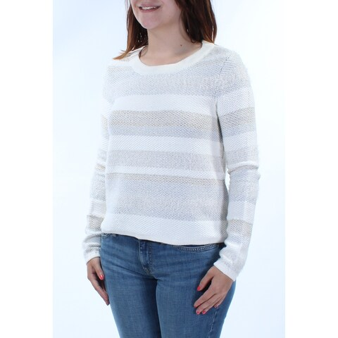 KIIND OF Womens Ivory Textured Striped Long Sleeve Jewel Neck Tunic Sweater Size: S