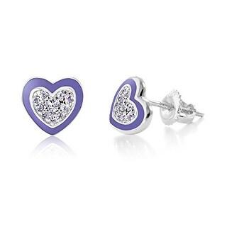 New White Gold Tone Purple Enamel CZ Heart Secure Screw Back Children Earrings