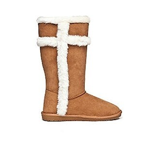 Rampage Womens Puffen Faux Fur Round Toe Mid-Calf Cold Weather Boots