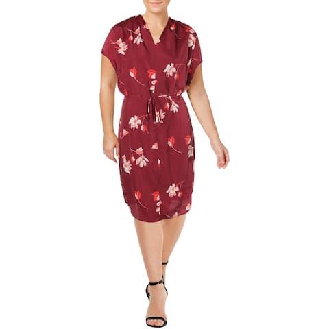 Lauren Ralph Lauren Womens Plus Balayna Wear to Work Dress Floral Print - Red Multi