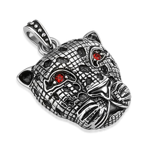Jaguar with Red CZ Eyes Cast Stainless Steel Pendant (30 mm Width)