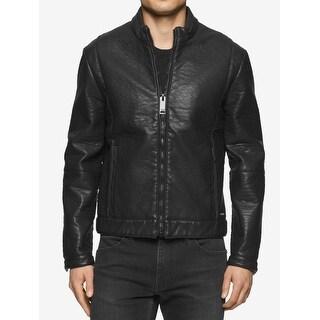Calvin Klein NEW Black Mens Size XL Faux Leather Motorcycle Jacket