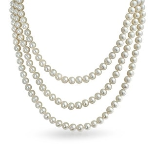 Bling Jewelry Bridal .925 Sterling Silver 3 Strand 7mm White Freshwater Cultured Pearl Necklace