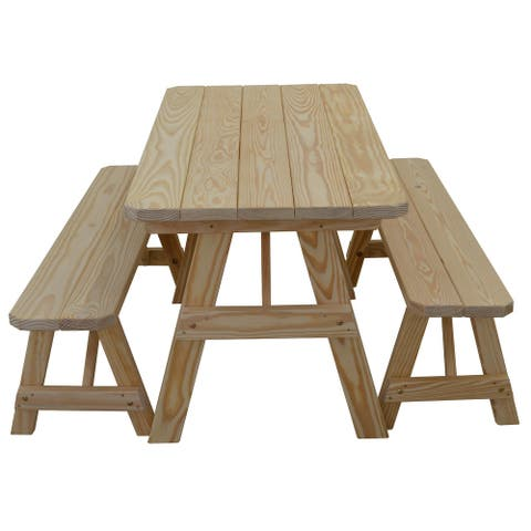 Pine 5' Traditional Picnic Table with 2 Benches
