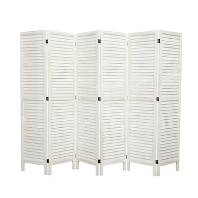 Kinbor 6 Panel Wooden Room Divider Folding Freestanding Privacy Screen Home Furniture indoor for Home Restaurant, Bedroom