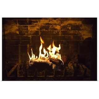 """Fire in a fireplace"" Poster Print"