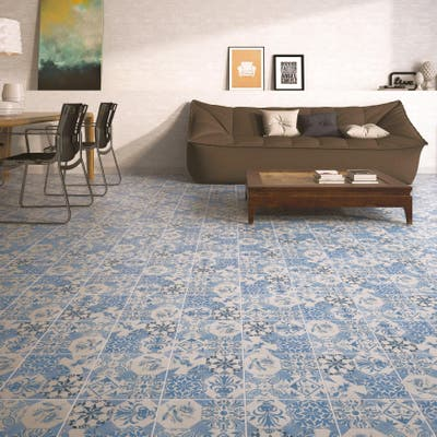"SomerTile Klinker Retro Azul Mix 9.63"" x 9.63"" Ceramic Floor and Wall Quarry Tile"