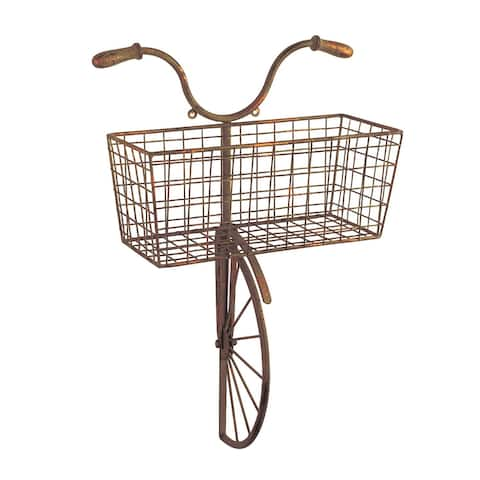 Iron Bicycle Wall Decor - Basket for Storage Magazine Rack Flower Pot Holder - Silver - 13 in. x 6 in. x 22 in.