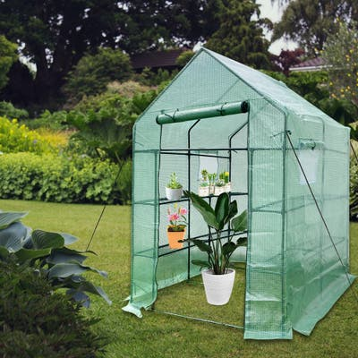 Mini Walk-in Greenhouse Indoor Outdoor 2 Tier 8 Shelves- Portable Plant Gardening Greenhouse, Grow Plant Herbs Flowers Hot House
