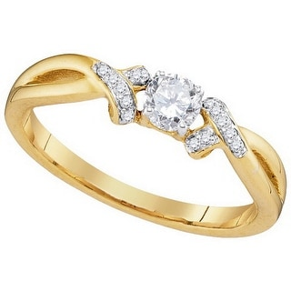 10k Yellow Gold Round Natural Diamond Solitaire Bridal Wedding Engagement Ring 1/3 Cttw - White