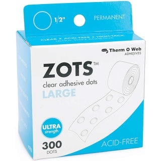 """Zots Clear Adhesive Dots-Large 1/2""""X1/64"""" Thick 300/Pkg"""