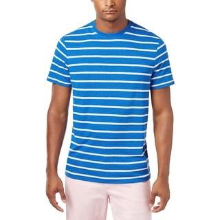 Tommy Hilfiger Blue and White Linen Blend Striped Crewneck T-Shirt Medium M