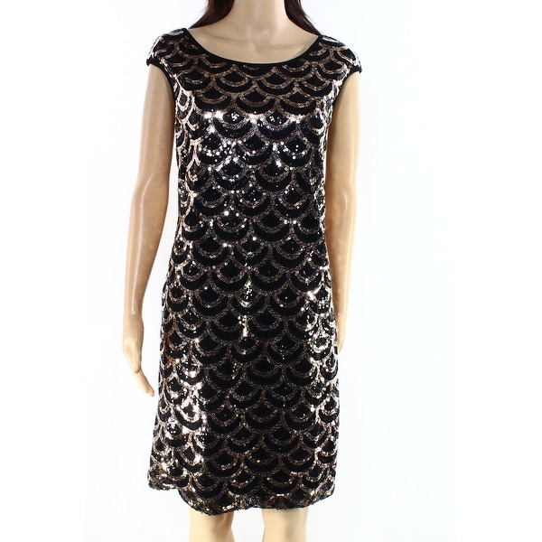 2def9950dd45b Connected Apparel NEW Black Gold Womens Size 10 Sequin Sheath Dress