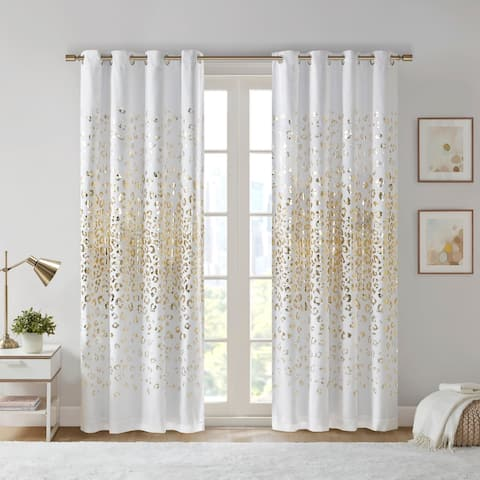 Serena White/ Gold Grommet Top Metallic Animal Printed Total Blackout Curtain by Intelligent Design