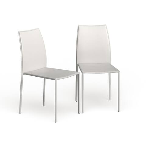 """SAFAVIEH Dining Metropolitan Stackable Jazzy Vinyl White Dining Chairs (Set of 2) - 18.9"""" x 22.8"""" x 35.8"""""""