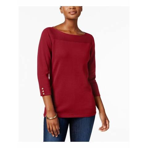 KAREN SCOTT Womens Red Ribbed 3/4 Sleeve Jewel Neck Sweater Size M