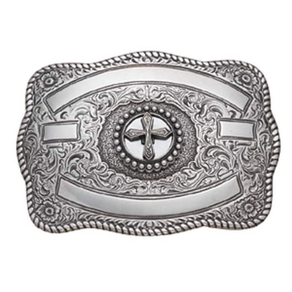 Crumrine Western Belt Buckle Womens Cross Ribbons Silver - 3 1/4 x 4 1/2