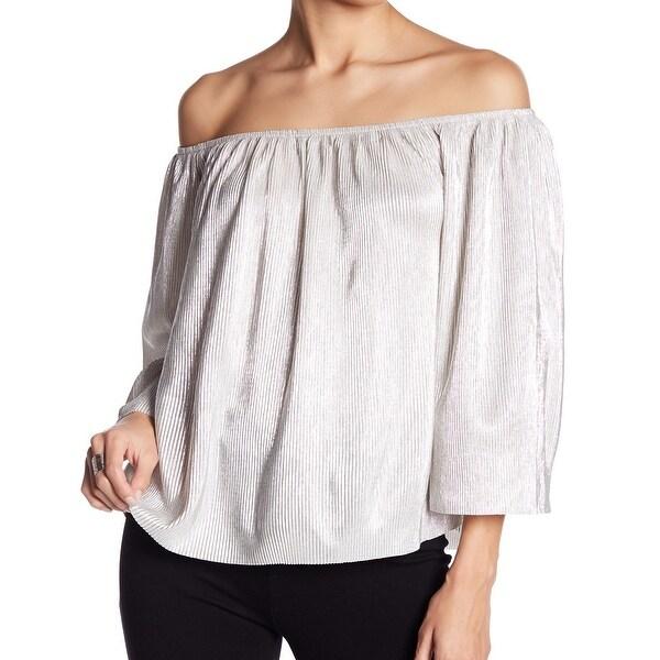 Love On A Hanger Silver Women's Medium M Off-Shoulder Plisse Blouse