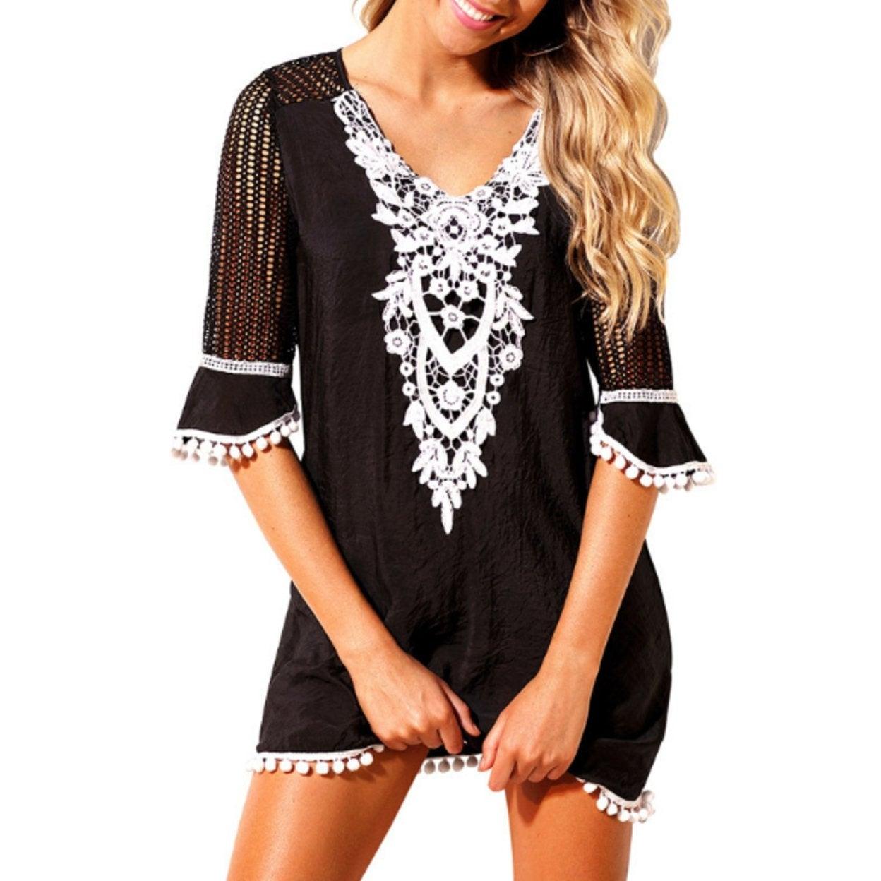 8bd3bbf22d Shop Women's Crochet Chiffon Tassel Swimsuit Bikini Pom Pom Trim Swimwear  Beach Cover Up - On Sale - Free Shipping On Orders Over $45 - Overstock -  27513350