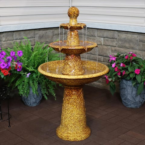 Sunnydaze 3-Tier Floral Motif Ceramic Water Fountain with LED Lights - 45-Inch
