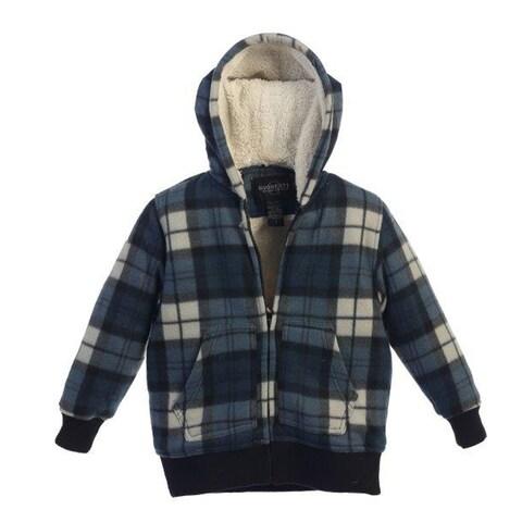 Boys Blue Plaid Sherpa Lining Hooded Flannel Jacket 8-16