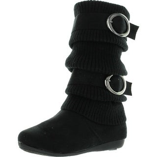 Lucky Top Girls Bank-21K Slouch Double Buckle Suede Boots With Zipper