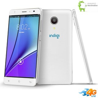 "Indigi 4G LTE Smartphone (White) 5.0"" IPS Android 6.0 MM UNLOCKED AT&T T-Mobile - White"