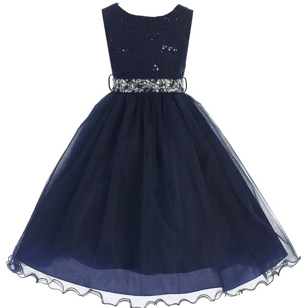 861c64649e8dc Shop Flower Girl Dress Glitter Sequin Top & Rhinestone Sash Navy JK 3670 - Free  Shipping Today - Overstock - 16737104