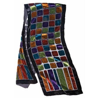 Women's Fashion Scarf - Stained Glass Velvet Scarf with Black Border - Medium