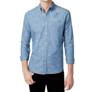 WHT Space NEW Blue Mens XL Bird Print Long Sleeve Button Down Shirt