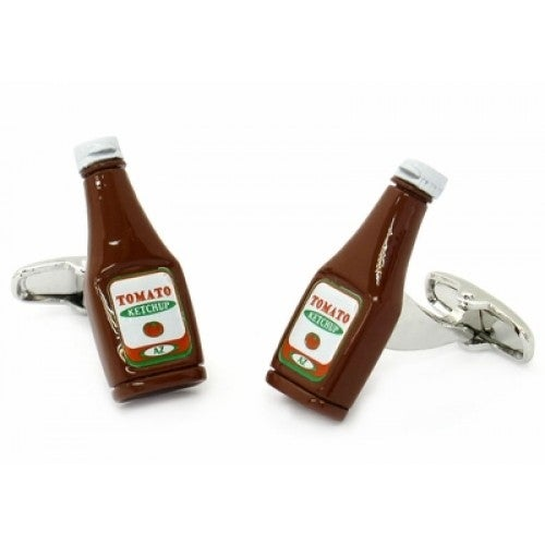 Ketchup Bottle Chef Cook Picnic Condiment Cufflinks