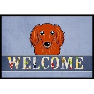 Carolines Treasures BB1400MAT Longhair Red Dachshund Welcome Indoor & Outdoor Mat 18 x 27 in.