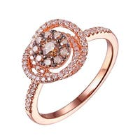 Prism Jewel 0.62CT Brown Diamond & G-H/SI1 Natural Diamond Cluster Ring, 14k Rose Gold, Size 7 - White G-H