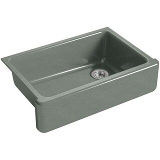 "Kohler K-5827 Whitehaven 33"" Single Basin Apron-Front Under-Mount Cast Iron Kitchen Sink with Tall Apron"