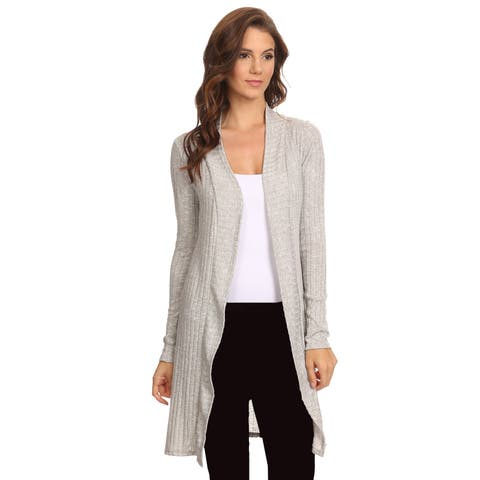 Women's Ribbed Open Front Long Sleeve Cardigan Made in USA HEATHER GREY (2XL)