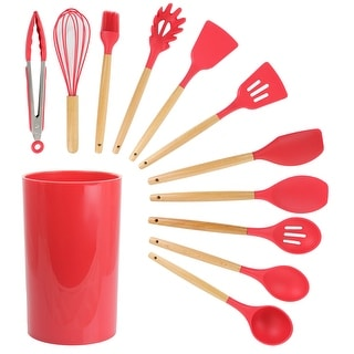 Link to MegaChef 12 Piece Red Silicone and Wood Kitchen Utensil Set Similar Items in Cooking Essentials