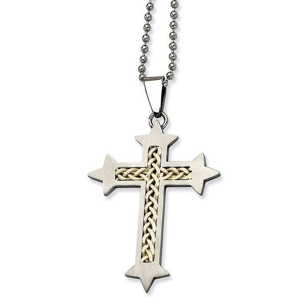 Chisel Stainless Steel Satin with Silver Inlay Cross Pendant 24 Inch Necklace (1 mm) - 24 in