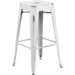 Brimmes 30'' High Backless Distressed White Metal Indoor/Outdoor/Patio/Bar Barstool