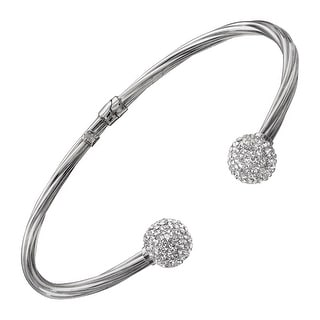 Crystaluxe Cuff Bracelet with Swarovski Crystals in Sterling Silver - White
