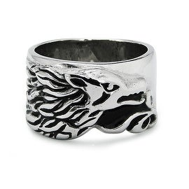 Stainless Steel Wolf Face Ring - Size 12