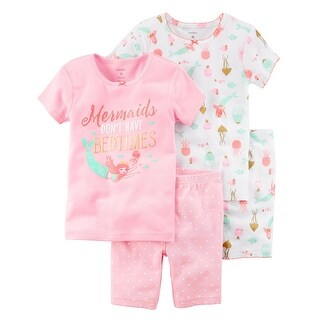 Carter's Baby Girls' 4-Piece Mermaid Snug Fit Cotton PJs, Pink, 18 Months
