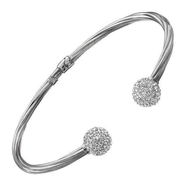 Crystaluxe Cuff Bracelet with Swarovski Elements Crystals in Sterling Silver - White