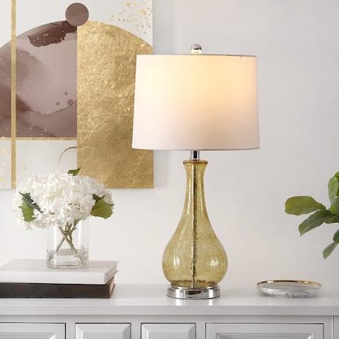 SAFAVIEH Lighting Finnley 28-inch Crackle Glass LED Table Lamp