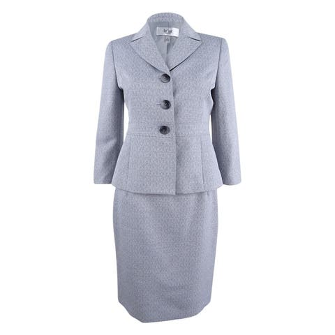 Le Suit Women's Three-Button Cross-Dyed Skirt Suit - Grey - 18