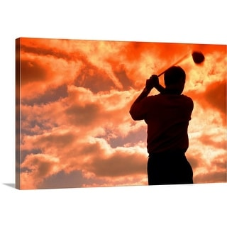 """""""golf player in the sunset"""" Canvas Wall Art"""