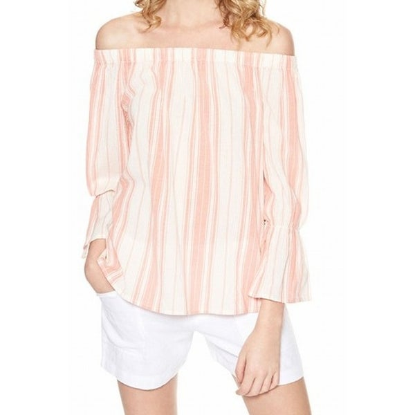f91ef4a0d77 Sanctuary NEW Pink White Womens Medium M Striped Off Shoulder Knit Top