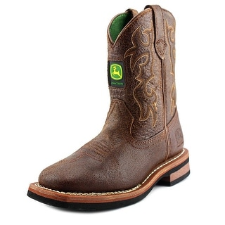 John Deere Pull On Youth Round Toe Leather Brown Hunting Boot
